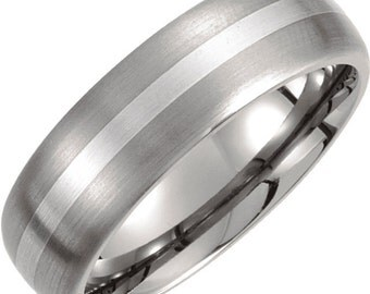 Titanium & Sterling Silver Inlay 7mm Satin Finish Domed Band Size 11