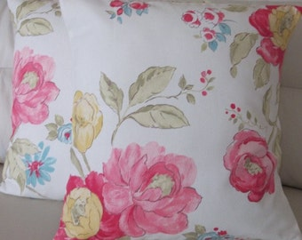 2 Clarke & Clarke Abigail Off-White Pink Yellow Sage Blue Cushion Covers