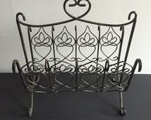 Vintage Black Wrought Iron Magazine Holder Basket Rack