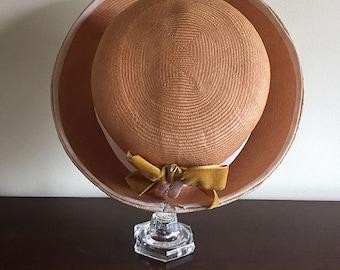 Vintage Straw Hat with Dark Yellow Velvet Bow