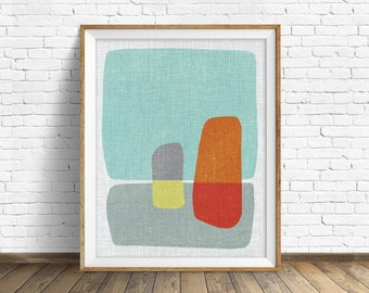 "mid century modern art, mid century modern wall art, large art, printable art, instant download, large wall art, abstract art - ""Pods No. 4"""