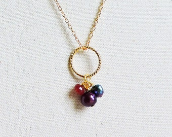 Ruby & Pearl Gold Charm pendant - Red ruby, Amethyst purple and Peacock blue freshwater pearl necklace - Twisted Gold Karma pendant