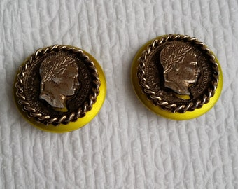 Vintage Gold Tone Napoleon Empereur Faux Coin Clip On Earrings