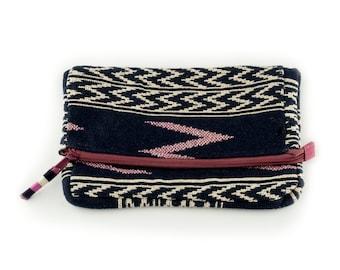 Lady Love Clutch, evening clutch, wallet, boho clutch, fold over clutch, Bohemian, handloom weave, evening bag, violet pink, wallet women
