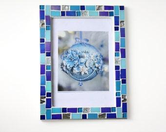 5x7 frame - Mosaic photo frame - Blue frame - Photo frame 5x7 - Picture frame 5x7- Blue frames- Blue picture frame- Mosaic art- Wedding gift