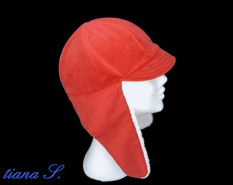 Aviator hat, red-orange, one size