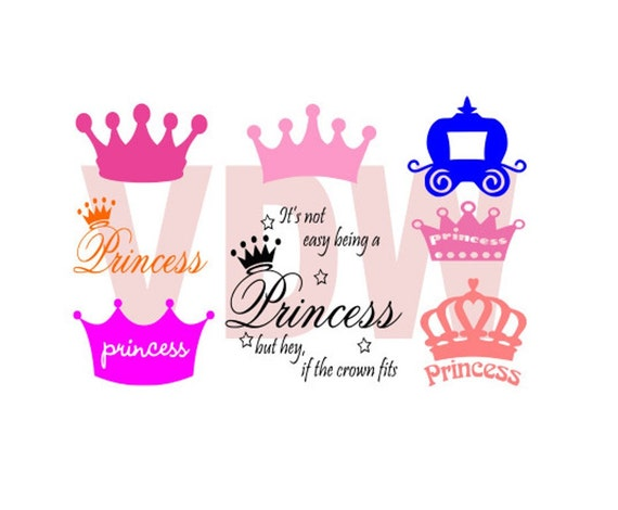 Princess Crown Silhouette Svg Dxf And Eps Vinyl Cut Files