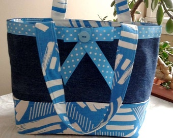 Printed cotton and recycled jean bag-Tote