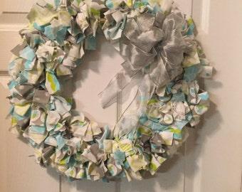 Baby Boy Rag Wreath