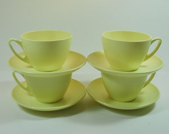 Four Vintage Danish Ropal-Service Melamine Yellow Cups and Saucers, 1950's-60's, Camping,Picnic, Camper Van, Mid-Century