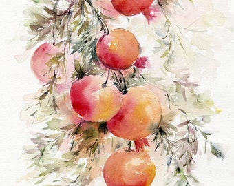 pomegranate painting, fruit painting, watercolor fruit, fruit art, original painting, original fruit painting, watercolor pomegranate art