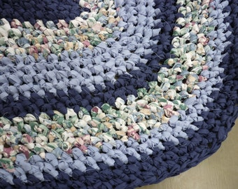 Crocheted Oval 24x37 Upcycled Rug