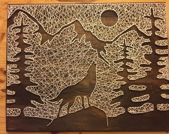 Wolf/Mountain Silhouette String Art