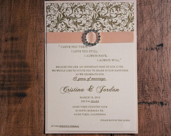 vow renewal invite  etsy, invitation samples