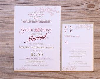 Spring Wedding Invitation, spring Wedding Invitations, floral invitation, floral invitations, branches and flower design, formal invitations