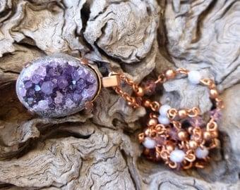 Raw Amethyst Crystal Copper Necklace