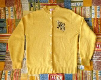 Vintage Monogrammed Yellow Cardigan