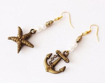Earrings anchor starfish