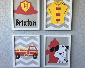 Fireman Firefighter boy nursery art framed set of 4 8x10 dalmation firetruck fire red yellow grey personalized
