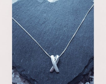 sterling silver 'X' pendant with sterling silver chain