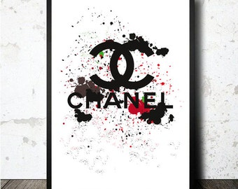 Chanel Logo printable in A4 size sheet. Lámina Logo Chanel imprimible. PDF instant download file. Archivo PDF descargable e imprimible en A4