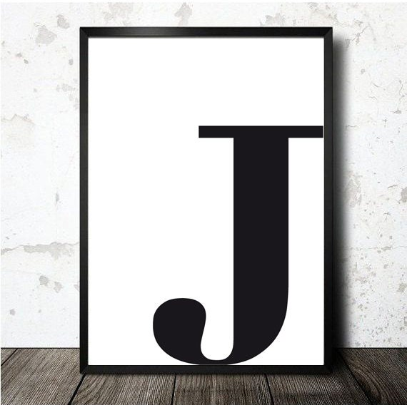letter j poster printable in a4 monogram initial print