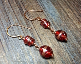 UpCycled Copper & Ruby Czech Glass Earrings