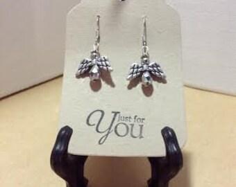 Silver Angels Pierced Earrings