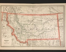 1883 Color Map of Montana, Large Original Antique Map Published by George Cram