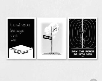 Star wars poster, yoda quote poster, set of 3, A4, A3 poster, Do or do not, May the force be with you, Luminous beings are we, bulk sale