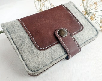 Felt wallet with genuine leather.