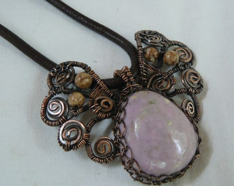 Necklace,pendant, copper wrapped,,natural stones. Angel for you.