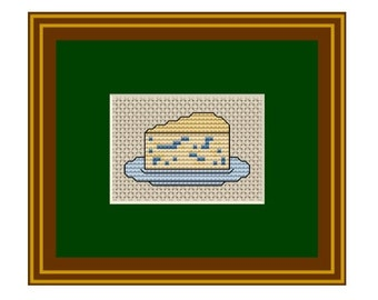 Counted Cross Stitch.Piece of cheese . Pattern. Kitchen Decor.  PDF Instant Download.