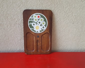 Vintage Wood and Ceramic Tile Cheese Board