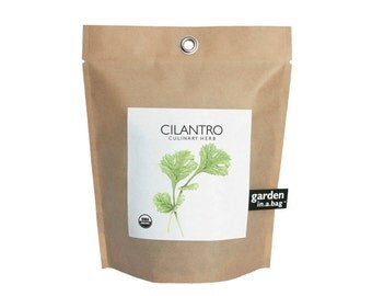 Cilantro Garden-in-a-Bag – Self Contained Grow Kit – Eco Friendly – Hostess Gift – Party Favors – Christmas – Kitchen Herb - Indoor Garden