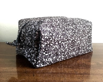 Zippered Box Pouch - Grey Floral / Gift for mom, sister, grandma, friend