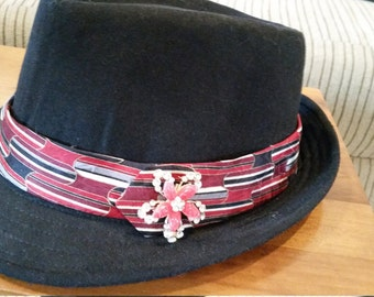 Fedora Hat with Vintage Brooch-Black Hat with Red and Grey Accents