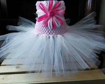Newborn -3 Month Tutu Dress with Ribbon Flower