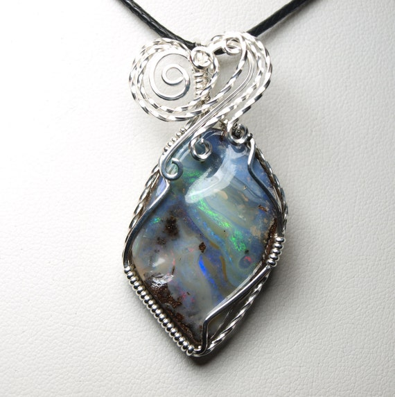 Boulder opal pendant wire wrapped pendant wire wrap pendant for Jewelry stores boulder co