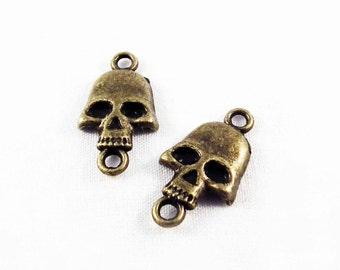 BCN12 - Lot of 2 connectors charms Tete-de-mort Bronze / 2 parts Vintage Antique Bronze Metal Skeleton Skull Connectors