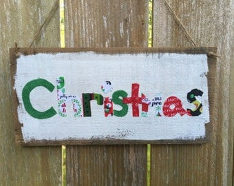 Rustic Christmas Hanging Wood Sign; Rustic Christmas Sign; Decoupaged Christmas Sign; Christmas Decor; Rustic Christmas Decor; Christmas