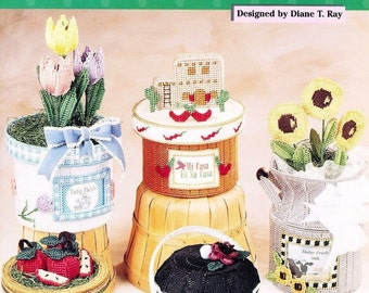 Country Containers, Home Decor Plastic Canvas Pattern Booklet The Needlecraft Shop 993076