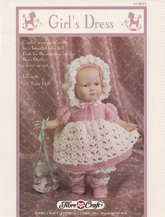 Girls dress fibre craft 15 inch doll clothes crochet pattern for Fibre craft 18 inch doll