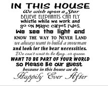 "In this house....we wish upon a star...Vinyl Wall Decal 22"" x 22"", disney decals, we do disney, disneyland signs, disney stickers,"