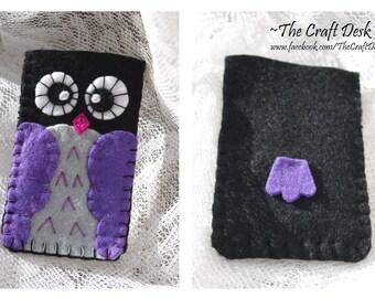 Owl felt phone cover - purple - iPhone case , Samsung case , Phone case - 100% wool felt owl , animal , telephone sleeve , thecraftdesk