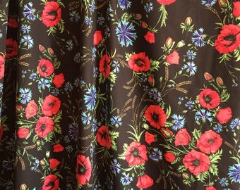 Windows Curtains, Floral curtain, Bedroom curtain,Black and red poppy and blue cornflowers