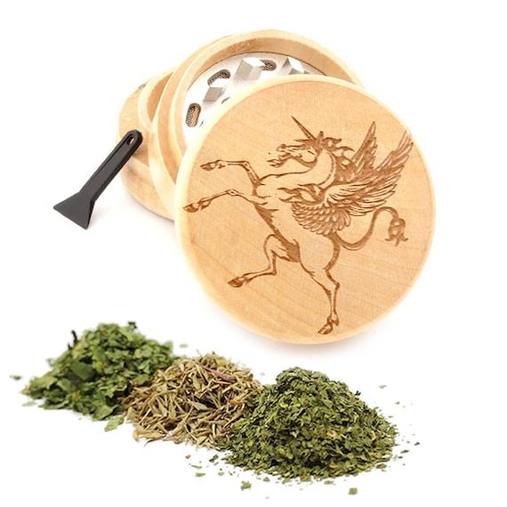 Unicorn Engraved Premium Natural Wooden Grinder Item # PW050916-105