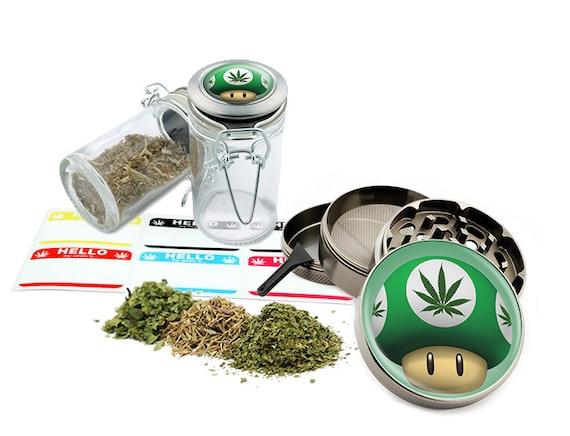"Green Mushroom - 2.5"" Zinc Alloy Grinder & 75ml Locking Top Glass Jar Combo Gift Set Item # G022115-031"