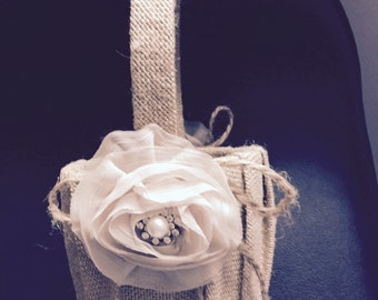 Burlap flower girl Basket