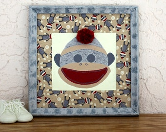 Hand Painted Sock Monkey Framed Art